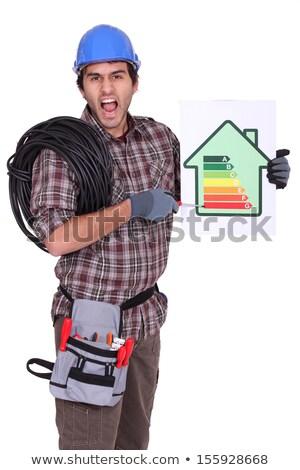 öfkeli elektrikçi seviye enerji tüketim Stok fotoğraf © photography33