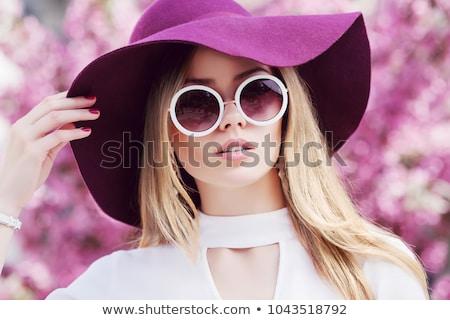 Szőke fehér fedora aranyos portré fiatal Stock fotó © carlodapino