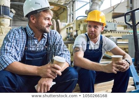 werknemer · pauze · glimlach · hout - stockfoto © photography33