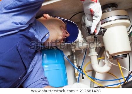Stockfoto: Loodgieter · afval · pijp · water · man