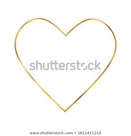 love postcard with golden heart vector illustration stock photo © carodi
