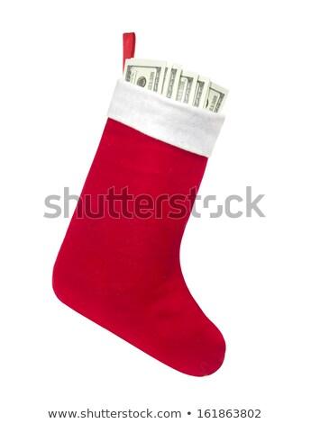 christmas · kous · gevuld · geld · geïsoleerd · witte - stockfoto © Photocrea