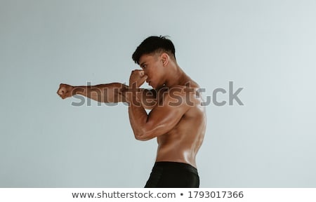 Side view of fighting boxers against a white background stock photo © wavebreak_media