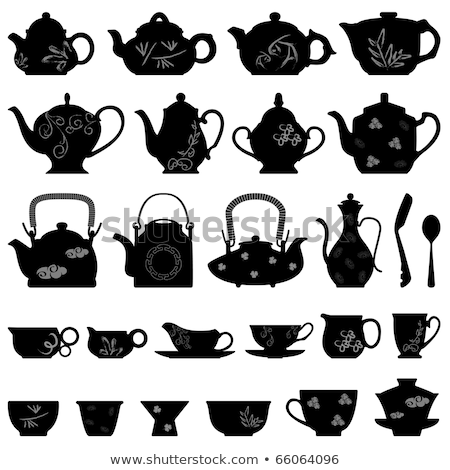 tea pots and cups with asian pattern, vector Stock photo © beaubelle