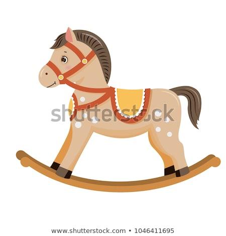 rocking horse baby card Stock photo © marimorena