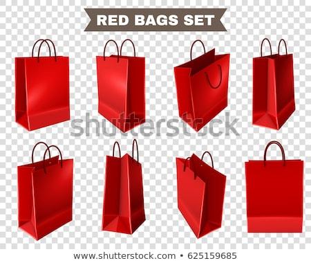 vermelho · papel · bolsa · de · compras · isolado · compras · branco - foto stock © Len44ik