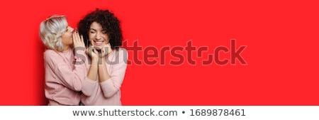Boldog barátnők suttog portré divat hírek Stock fotó © brebca