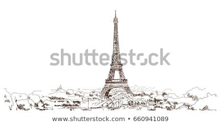 Stockfoto: Eiffeltoren · schets · vector · afbeelding · bouw · architectuur