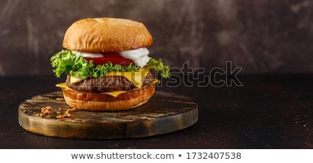 queijo · burger · cebola · tomates · alface · nota - foto stock © hojo