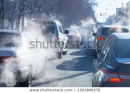 Pollution sol smog usine bâtiments tissu Photo stock © jezper