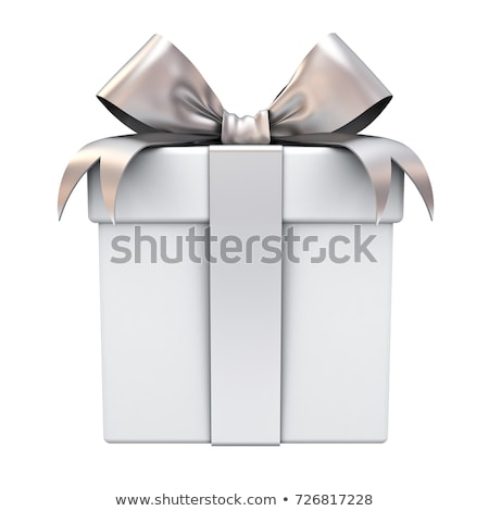 gift box with silver ribbon bow isolated on white background stock photo © dacasdo