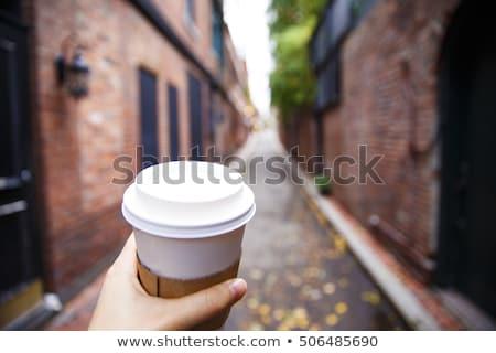 sevimli · genç · bayan · fincan · kahve · portre - stok fotoğraf © fisher