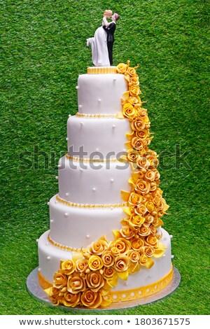 három · esküvői · torta · barack · torta · fehér - stock fotó © gsermek
