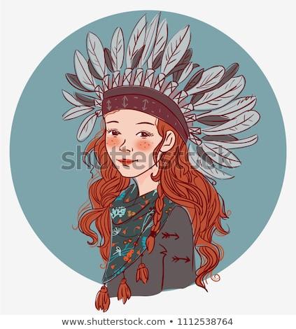 güzel · kız · kırmızı · gözler · saç - stok fotoğraf © pandorabox