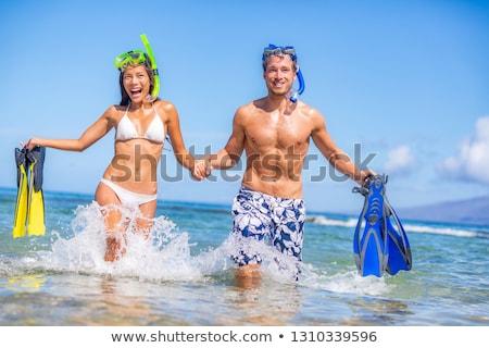 Fitness caribbean jonge mooie vrouw zee strand Stockfoto © dash