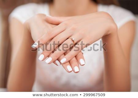рук · кольцами · букет · свадьба · пару · цветы - Сток-фото © c-foto