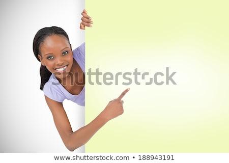 小さな ブルネット 女性 ホールド 空白ページ ビジネス ストックフォト © sebastiangauert