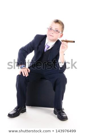 küçük · patron · büyük · puro · portre · erkek - stok fotoğraf © runzelkorn