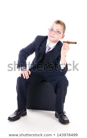 Stok fotoğraf: Küçük · patron · büyük · puro · portre · erkek