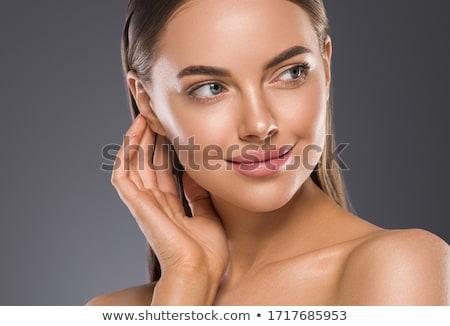 rosto · sorridente · mulher · sensual · retrato · glamour - foto stock © nobilior