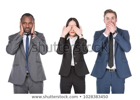 üzletasszony · beszéd · nem · gonosz · póz · izolált - stock fotó © dgilder