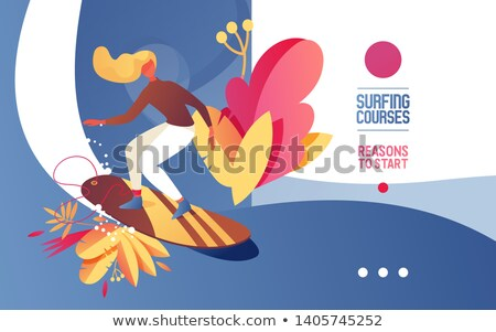 cartoon of a blonde woman surfing a wave stock photo © antonbrand