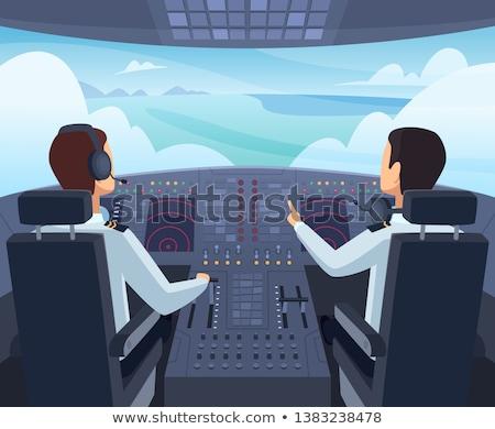 Kabina pilota samolot technologii kontroli poziomy close-up Zdjęcia stock © bmonteny