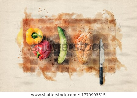 Kitchen utensils and herbs on stainless steel  Stock photo © Sandralise