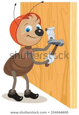 Ant builder hammers a nail hammered into a wooden board Stock photo © orensila