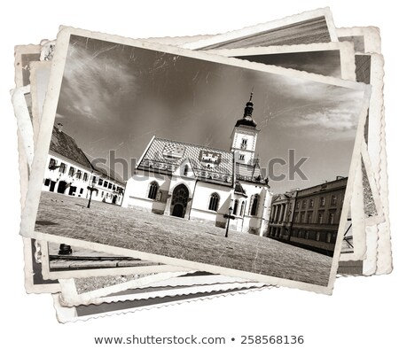 Vintage photo St. Mark' church Zagreb Stock photo © smuki