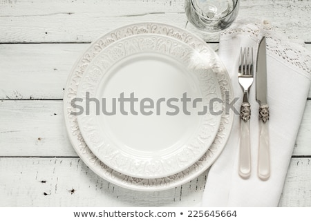 vintage tableware placed for dinner stock photo © barbaraneveu