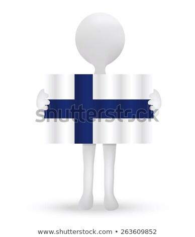 Pequeno o homem 3d bandeira república Finlândia Foto stock © Istanbul2009