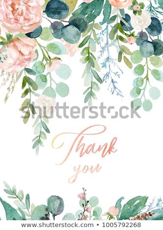 Rózsaszín vízfesték virágok keret kép illusztráció Stock fotó © Irisangel