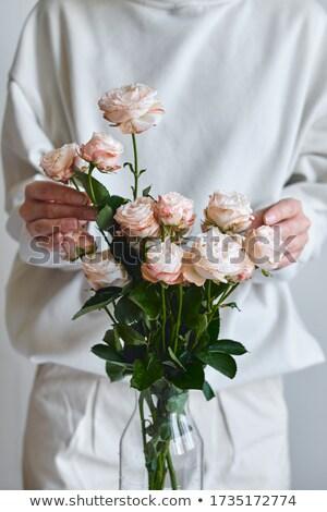 Mãos pétalas mulher rosa Foto stock © wavebreak_media