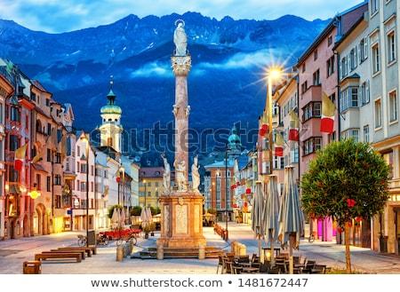 表示 町 オーストリア アルプス山脈 カバー 木 ストックフォト © enricoagostoni