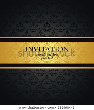 Seamless abstract text pattern.   Gold text on black background.  Stock photo © mcherevan