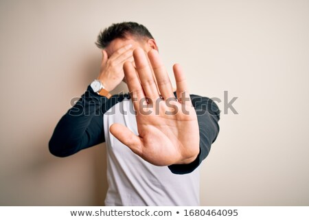 Fiatal megszégyenített férfi vektor terv illusztráció Stock fotó © RAStudio
