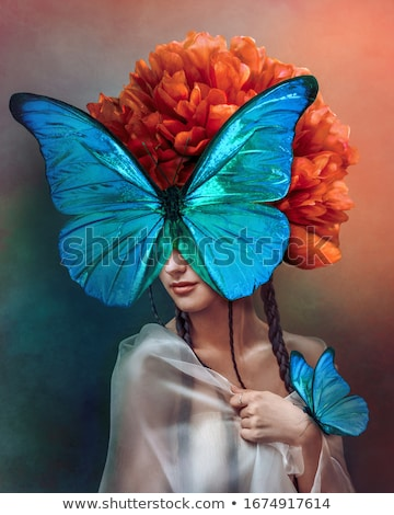 Beautiful fairytale girl with face art Stock photo © FAphoto