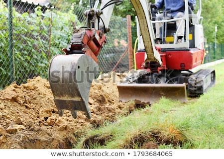 Koparka sylwetka maszyny odkryty budowa budowy Zdjęcia stock © shime