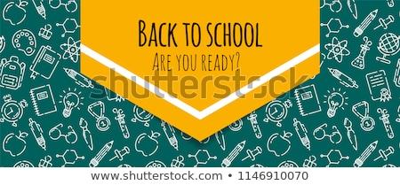 vissza · az · iskolába · ráncos · papír · vektor · eps · 10 - stock fotó © beholdereye