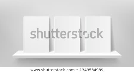 Prateleira de livros cinza ilustração 3d madeira parede Foto stock © make