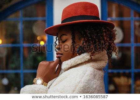 Vonzó nő szőrmebunda fiatal gyönyörű nő fekete portré Stock fotó © Aikon