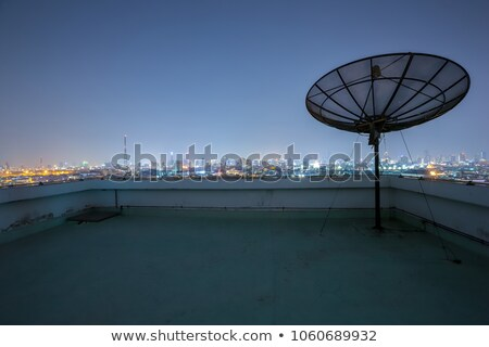 satellite dish antenna radar and building background Stock photo © FrameAngel