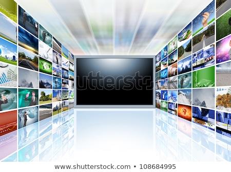 テレビ 黒 スライド 金 頭字語 反射 ストックフォト © timbrk
