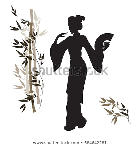 традиционный гейш силуэта иллюстрация цветы закат Сток-фото © adrenalina