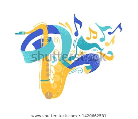 szaxofon · dekoráció · hangjegyek · forma · művészet · felirat - stock fotó © rastudio