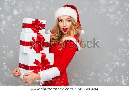 chapeau · cadeau · rouge · arc · blanche - photo stock © dash