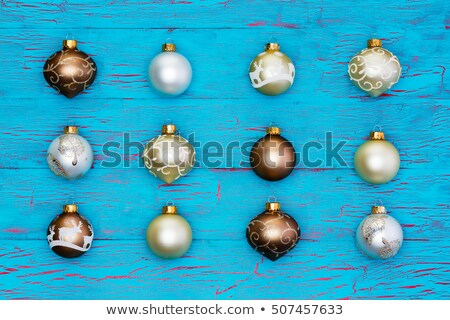 Neat array of metallic Christmas tree ornaments Stock photo © ozgur