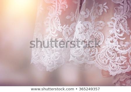 Dantel elbise güzel esmer krem Stok fotoğraf © disorderly
