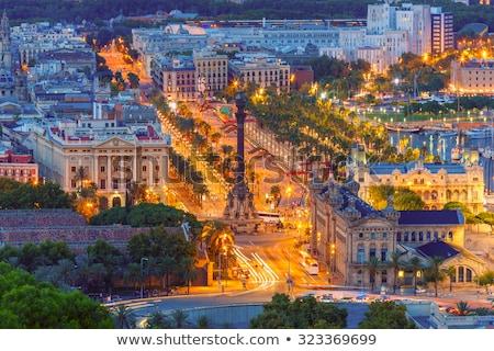 Barcelona · városkép · éjszaka · város · tenger · épületek - stock fotó © artjazz